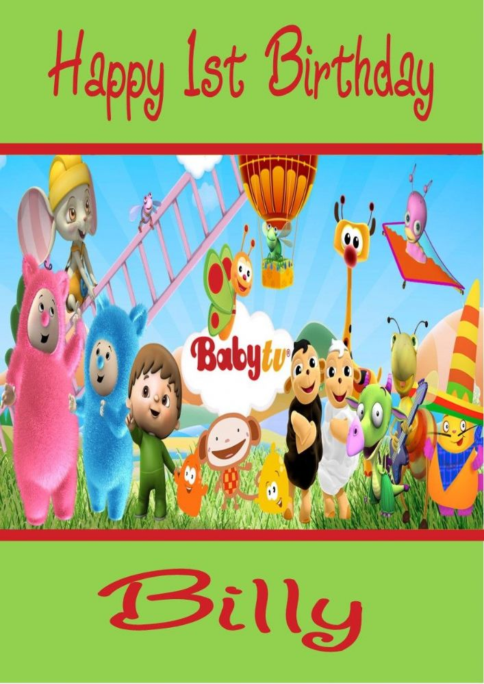 Personalised Baby TV Billy Bam Bam Amp Characters Birthday Card